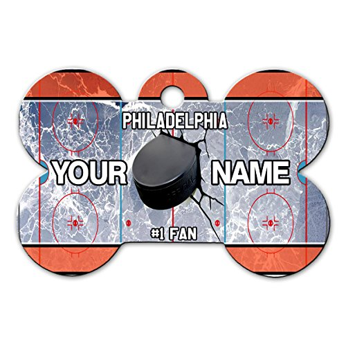 BleuReign(TM) Personalized Custom Name Hockey Team Philadelphia License Plate Bone Shaped Metal Pet ID Tag with Contact Information