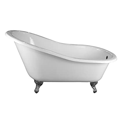 Barclay CTSN57-WH-BN Grayson Cast Iron Slipper Tub In White/Brushed ...