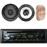 Pioneer DEH-X6900BT Car CD Player Receiver Bluetooth USB AUX Radio - Bundle Combo With 2x Kenwood KFC1665S 6.5 2-Way Black Car Coaxial Audio Speakers + Enrock 50 Ft 18 Gauge Speaker Wire