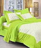 Jaipuri Print Rajasthani Tradition 210 TC Cotton Double Bedsheet with 2 Pillow Covers - Green
