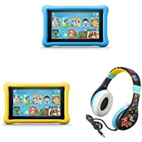All-New Fire HD 8 Kids Edition Tablet 2-pack - Blue/Yellow, with Wreck It Ralph 2 Kids Headphones