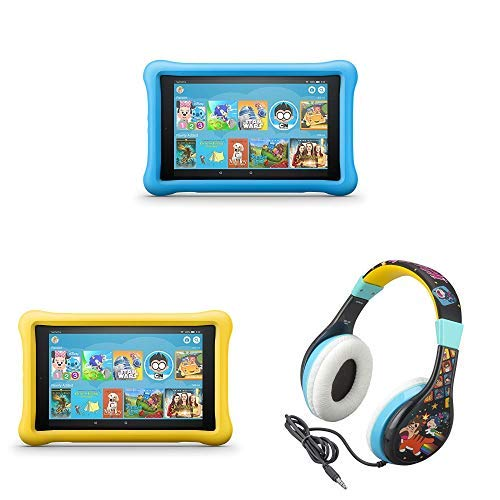 All-New Fire HD 8 Kids Edition Tablet 2-pack – Blue/Yellow, with Wreck It Ralph 2 Kids Headphones