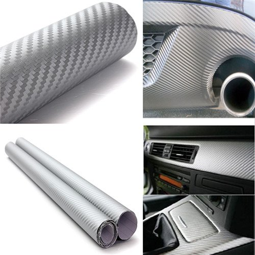 DIYAH 3D Silver Carbon Fiber Film Twill Weave Vinyl Sheet Roll Wrap DIY Decals (24