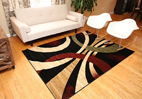 Feraghan New City hil1030 Contemporary Modern Wavy Circles Area Rug, 5 x 8-Feet, Brown and Beige
