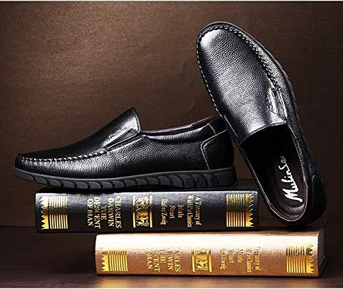 5 de Negro Hombres para UK Hombres HhGold Casuales Negro Cuero tamaño Casuales la los Color US cómodos Zapatos 5 5 los los Holgazanes de Ocasionales de Cabeza para 6 q8ROqwg