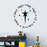 dfwa Wall Sticker Silent Night Holy Night Vinyl Wall Statement Family DIY Decor Art Stickers Home Decor Wall Art For Kids Living Room Bedroom Bathroom Office Home Decoration