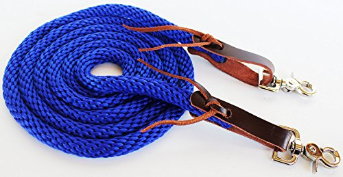 - PRORIDER Horse Roping Western Barrel Contest Reins Nylon Braided Snaps 7' Blue 607497BR
