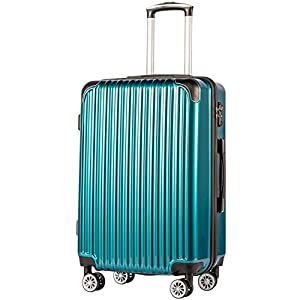 Coolife Luggage Expandable(only 28″) Suitcase PC+ABS Spinner 20in 24in 28in Carry on (green new, S(20in)_carry on)