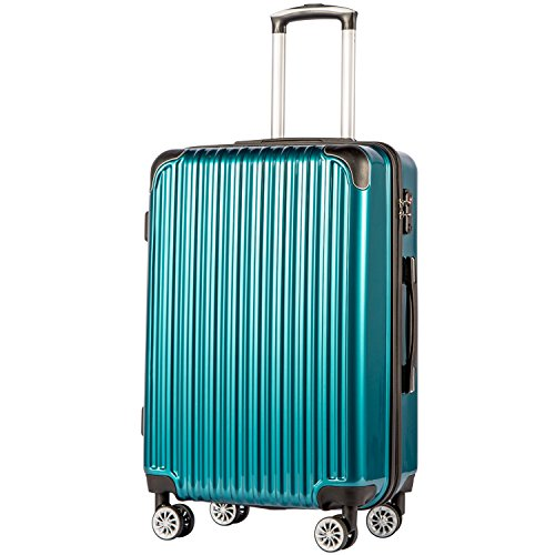 Coolife Luggage Expandable Suitcase PC+ABS Spinner 20in 24in 28in Carry on (green, S(20in)_carry on)