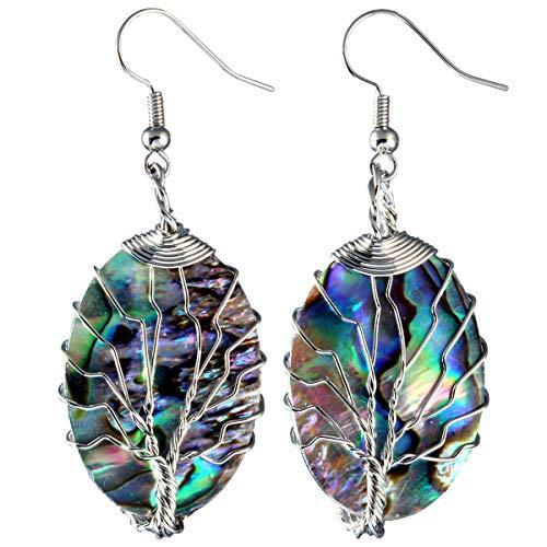- TUMBEELLUWA Tree of Life Dangle Earrings Abalone Shell Handmade Wire Wrapped Hook Drop Earring Stone Jewelry,Silver Color,Oval Shape