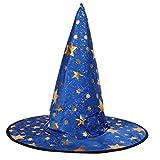 Kid's Wizard Hat Children's Witch Pointed Hat Halloween Fancy Dress Costume - Blue, D37cm*D18cm*H35cm/14.57*7.09*13.78inch