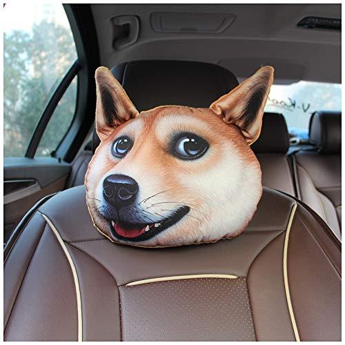 LH Coche reposacabezas cojín, Cute Gracioso Perro Malvado Cuello Almohada Cabeza, Material de Felpa Adecuado para Conducir...