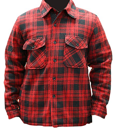 Woodland Supply Co. Men's Heavy Warm Fleece Sherpa Lined Zip Up Buffalo Plaid Jacket,Medium,Red/Black (Thermal Lined Jacket)