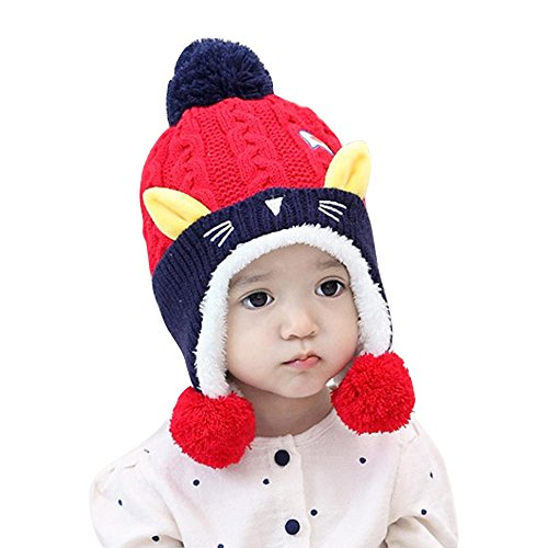 [Franterd, Kid Baby Girl Boy Knitting Wool Keep Warm Beanie Cap Hat with Dual Balls (Red)] (Halloween Costumes For 16 Month Old Girl)