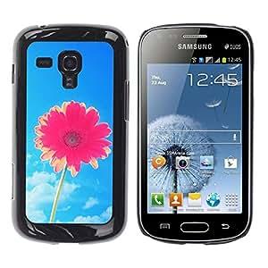 FECELL CITY // Duro Aluminio Pegatina PC Caso decorativo Funda Carcasa de Protección para Samsung Galaxy S Duos S7562 // Flower Blue Skies Pink Summer Sun