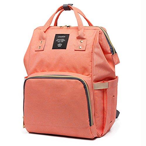 Lequeen Maternity backpack diaper bag with stroller strap, Waterproof, Brand Large Capacity Baby Bag Travel Backpack Designer Nursing Bag for Baby Care//Orange pink