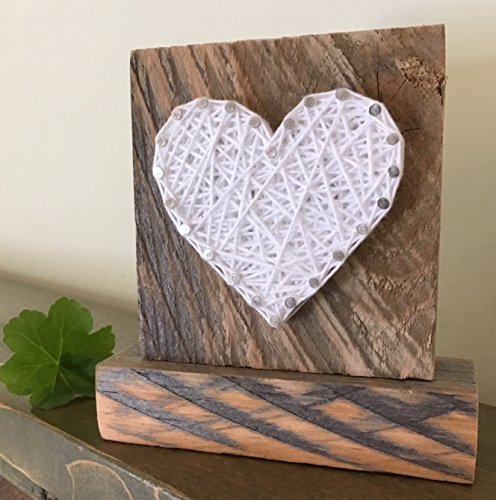 Sweet & small freestanding wooden White string art heart sign. Perfect for home accents, Wedding favors, Anniversary gifts, Valentine's Day, Christmas, nursery decoration and just because gifts.