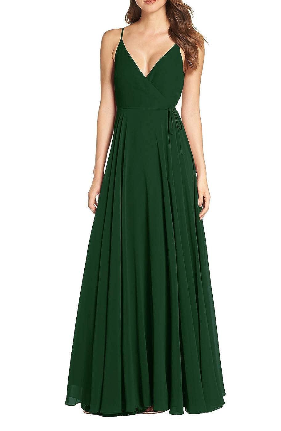 Dark Green RTTUTED Women's V Neck Sleeveless Evening Dresses Long Prom Gown Bridesmaid Maxi Skirt