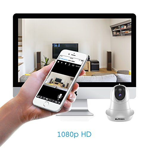 SURWOW Wireless IP Camera -1080P Wifi Surveillance Cameras Wireless HD with 2 Megapixel,Night Vision, Zoom/Pan/Tilt Control, Two-Way Audio for Baby,Pet Monitor and Home Security (WHITE) by SURWOW (Image #2)
