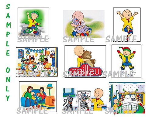 9 Caillou Inspired Stickers, Party Supplies, Favors, Labels, Birthday, -