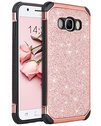 Galaxy J7 2016 Case, Galaxy J7 J710 Case, BENTOBEN Glitter 2 in 1 Luxury Bling Hybrid Hard PC Sparkly Shiny Faux Leather Chrome Shockproof Protective Case for Samsung Galaxy J7 J710 (2016), Rose Gold