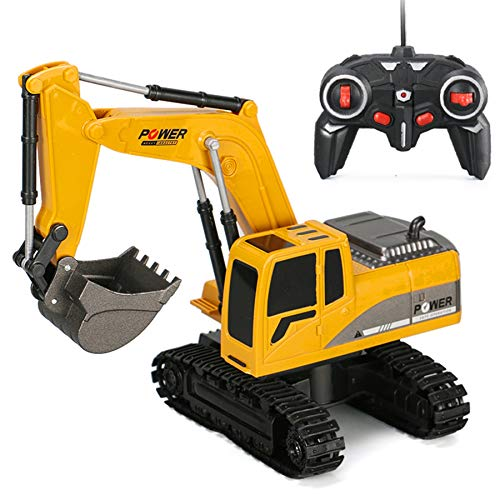 6CH Remote Control Excavator for Boys Remote Control Truck RC Tractor Construction Vehicles Toys with Lights & Sound for Boys Girls Kids 3 4 5 6 7 8 Year Old (Best Remote Control Toy For 4 Year Old)