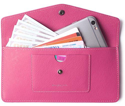 Women's Wallet Leather RFID Ultra-thin Envelope Ladies Purse Travel Clutch (Crosshatch (Ultra Thin Envelope)