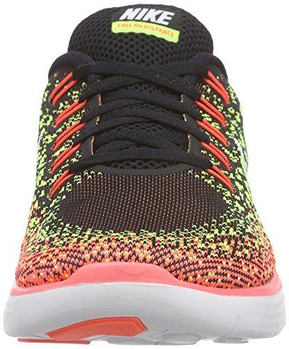 Nike Damen Free Rn Distance Laufschuhe Schwarz (Black/White-Volt-Hot Lava 017)