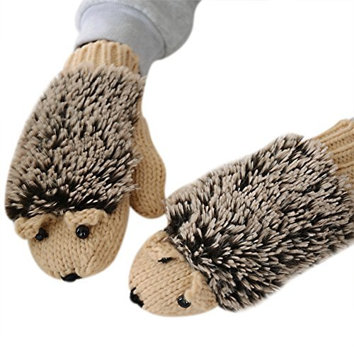 Women Girl Winter Knitted Gloves Cute Cartoon Hedgehog Gloves Thicken Mittens -