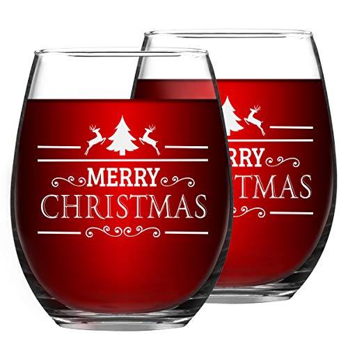 Set of 2 Christmas Wine Glasses Merry Christmas Stemless Wine Glasses Christmas New Year Gifts for Friends Women Christmas Decoration Wine Glasses for Christmas Party Couple Party Use 15Oz (Party Gifts Christmas Hostess)