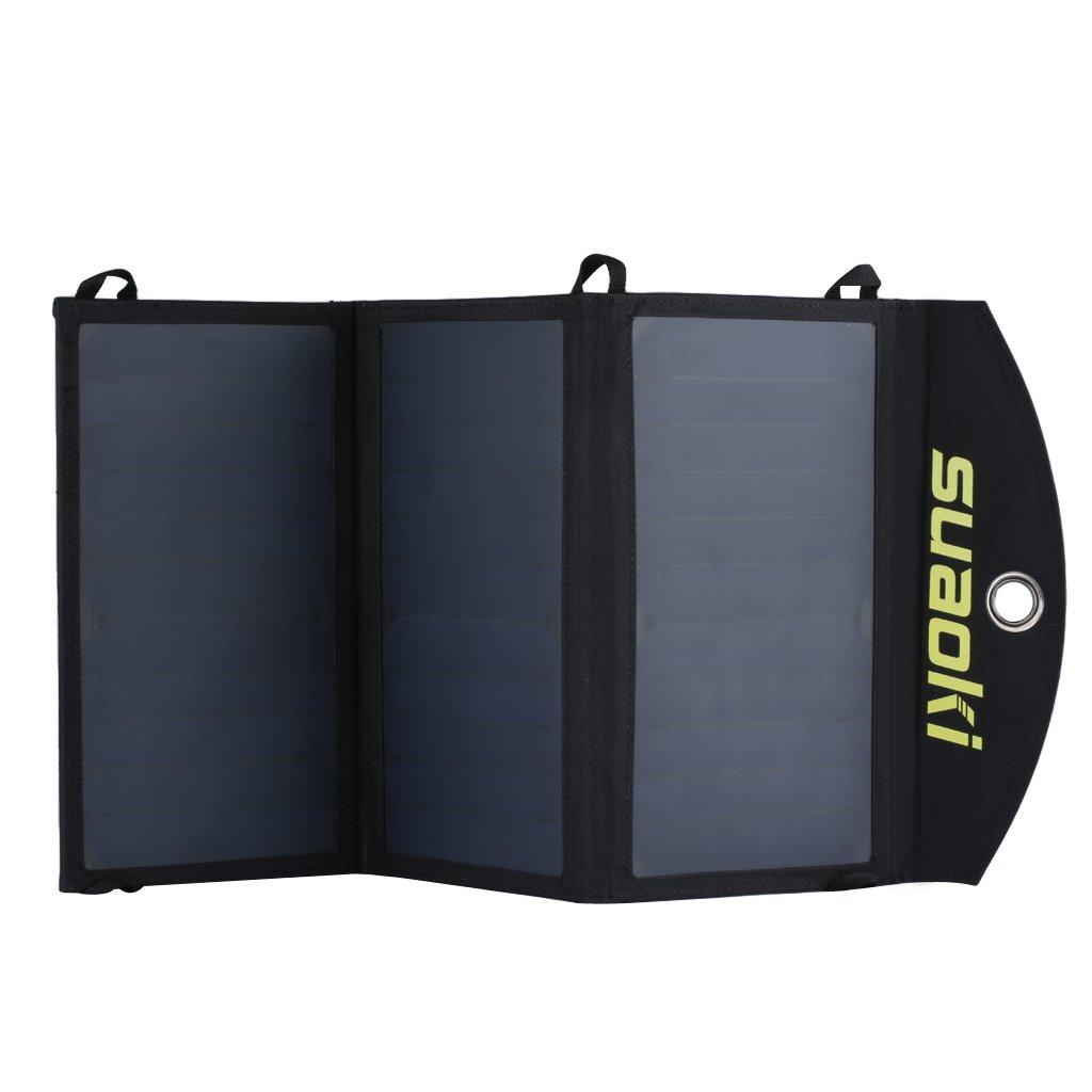 Suaoki - 20W Cargador Panel Solar Placa Solar Plegable (Doble Puertos USB para Moviles, Tablets y Otros Dispositivos Digitales)