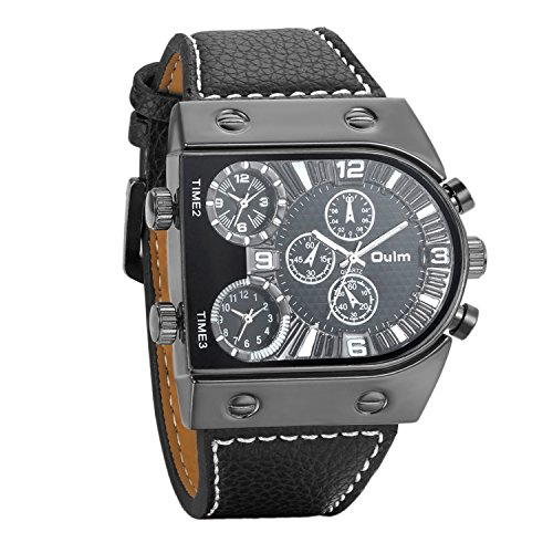 Avaner Unique Mens Analog Quartz Oversize Dial Wrist Watch 3 Time Zone Display Military Army PU Leather Strap Sport Watch Black ()