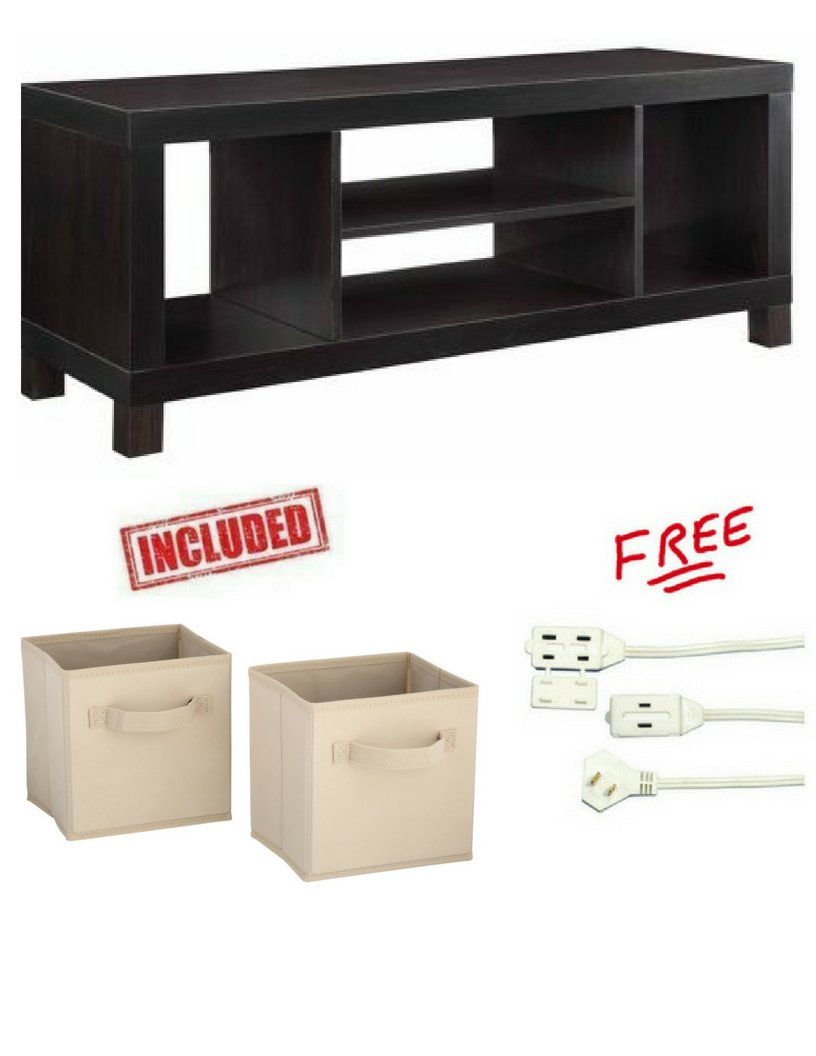 Cross Mill TV Stand for TVs up to 42'' in Espresso Finish with Set of 2 Storage Bins