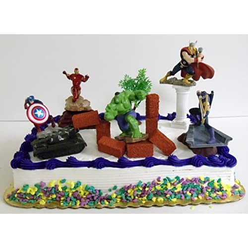 Magnificent Delicate Avengers 15 Piece Birthday Cake Topper Set Featuring Personalised Birthday Cards Veneteletsinfo
