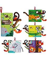 beiens Baby Books Toys, Soft Toys Baby Cloth Books, Touch and Feel Crinkle Books for Babies Infants Toddler Early Development Interactive Car Toys & Stroller Toys for Boys Girls (Jungle Tails-1 Book)