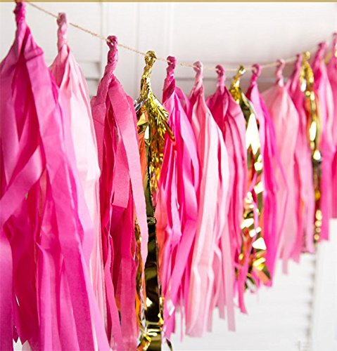16 X Hot Pink Tissue Paper Tassels for Party Wedding Gold Garland Bunting Pom Pom Originals Group