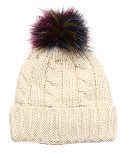 MIRMARU Winter Cable Knitted Faux Fur Multi Color Pom Pom Beanie Hat with Soft Fur ()