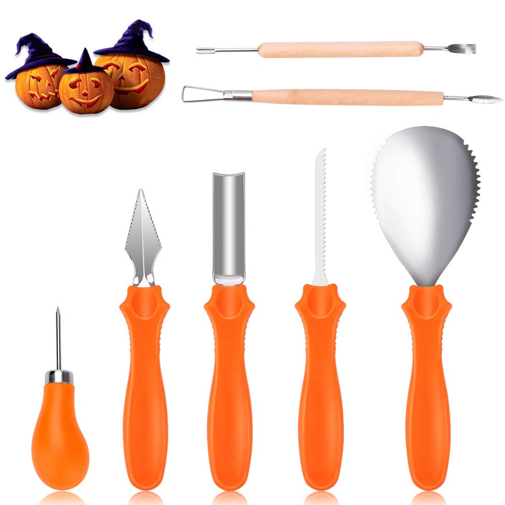 Pumpkin Carving Kit, Professional Stainless Steel Pumpkin Carving Tools Set for Easily Carve Sculpt Halloween Jack-O-Lanterns (7 piece set)