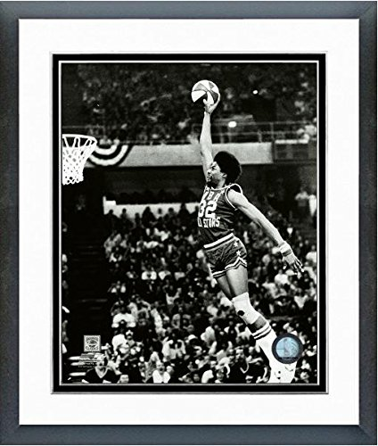 Julius Erving (Dr. J) New York Nets 1976 Slam Dunk Contest Action Photo (Size: 12.5'' x 15.5'') Framed by NBA