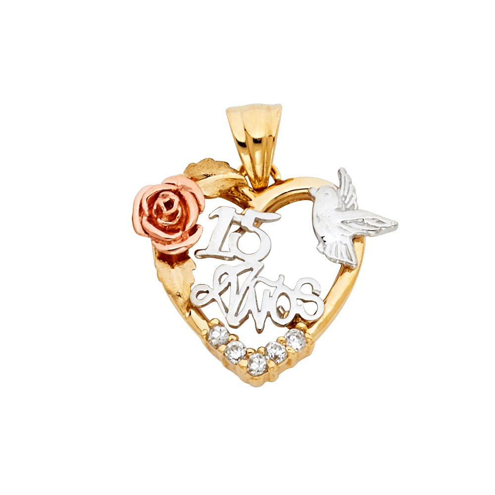 Million Charms 14K Tri-Color Gold with White CZ Accented 15 Years Birthday or Anniversary Heart Charm Pendant 25mm x 20mm