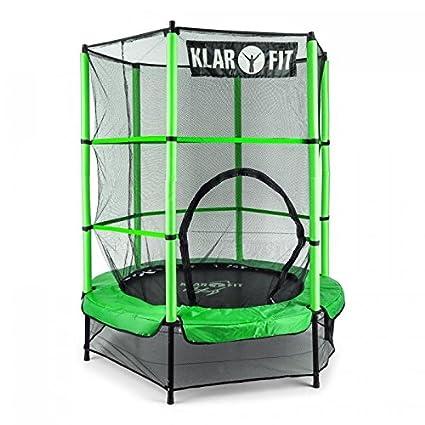 Klarfit Rocketkid 3 Cama elástica infantil 140 cm (Red de seguridad, apto exterior o interior, peso máximo 50kg, cuerdas elásticas ocultas, varillas ...