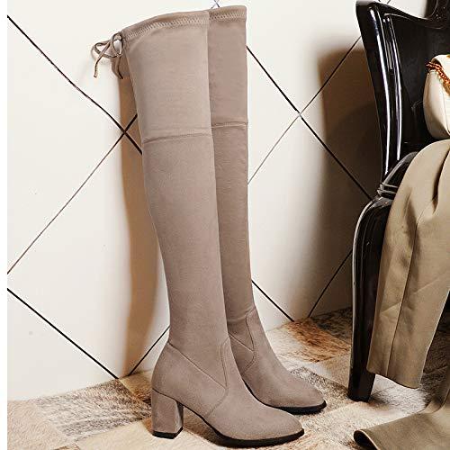 HOESCZS Chaussures d'automne Dames Modèles d'automne Chaussures d'hiver Bottes Extensibles Minces Épaisses Hautes des Bottes Au Genou Pointues De Grande Taille Bottes Femmes 36|Khaki 677ab8