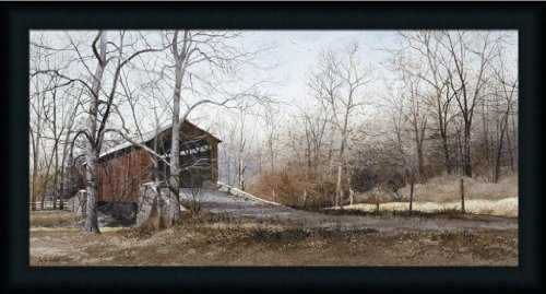 Covered Bridge Picture (Kissin' Covered Bridge by Ray Hendershot Americana Landscape 33.5x18 Wall Art Print Picture Framed)
