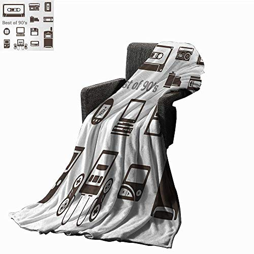 90s Warm Microfiber All Season Blanket Gadget of 90s Icons Pattern With Desktop Computer Video Game Joystick Nostalgia Theme Print,Super soft and comfortable,suitable for sofas,chairs,beds