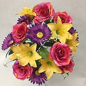 """Silk Flower Garden Roses Lilies Daisies Mixed Bouquet 18 Heads 21"""" 9"""