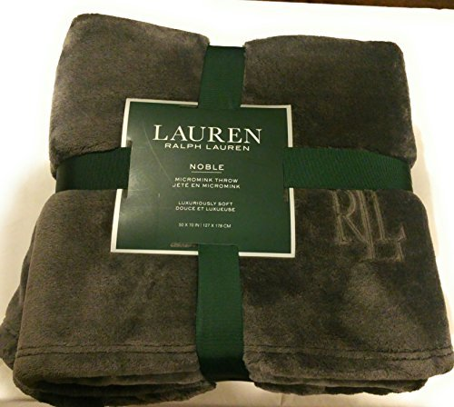 Lauren Ralph Lauren Noble Plush Micromink RLL Monogrammed Oversized Throw Blanket - Dark Gray 50 x 70