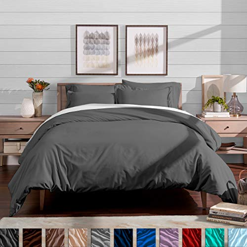 Bare Home Duvet Cover and Sham Set - Full/Queen - Premium 1800 Ultra-Soft Brushed Microfiber - Hypoallergenic, Easy Care, Wrinkle Resistant (Full/Queen, Grey) ()