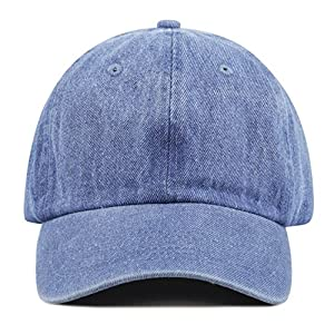 The Hat Depot Unisex Blank Washed Low Profile Cotton and Denim Baseball Cap Hat
