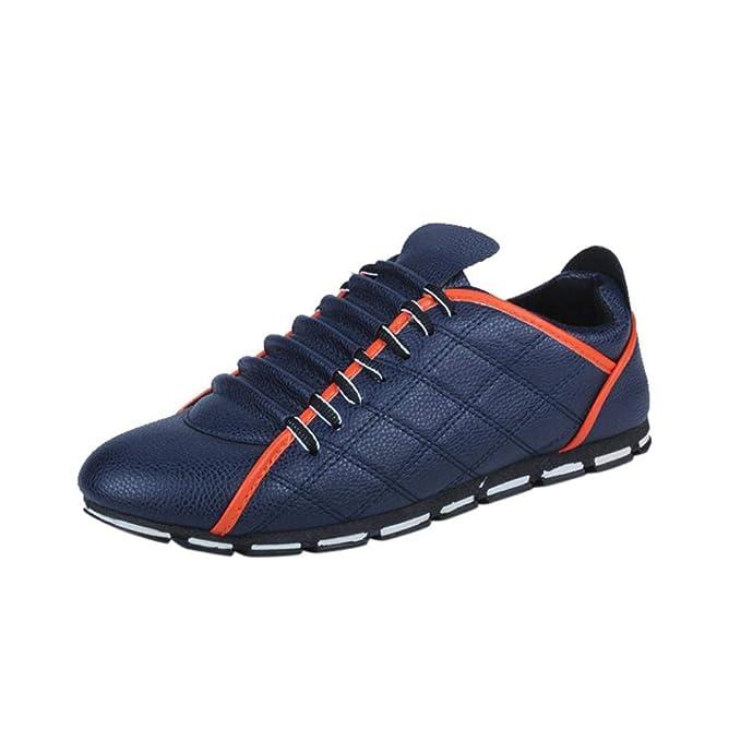 WWricotta LuckyGirls Zapatillas Casual Hombres Negocio Cuadros Moda Cómodas Calzado Andar Zapatos de Cuero Planos Bambas con Cordones: Amazon.es: Deportes y ...