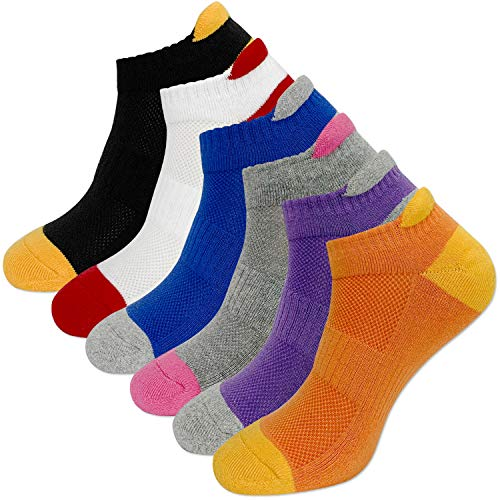 KONY 6 Pairs Women's Cotton Cushion Running Athletic Low Cut Ankle Tab Socks, Size 6-9 - All Season Gift (Purple/Orange/Blue/White/Grey/Black)